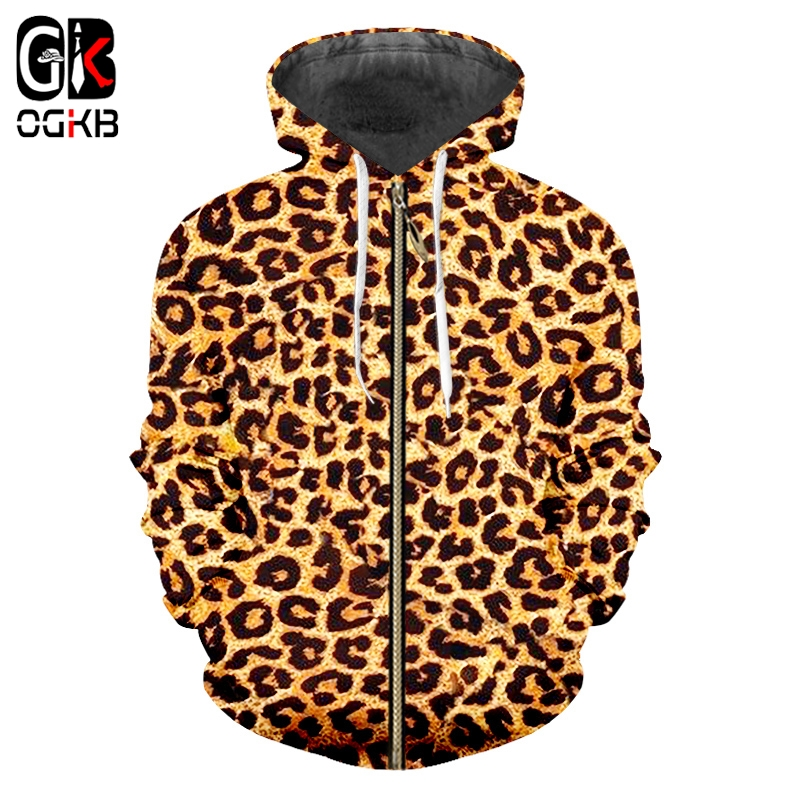 OGKB Zipper Hoodie Sweatshirts Slim Animal 3D Hoodies Printed Leopard Streetwear Plus Size 5XL Clothing Men Autumn Coat Pullover