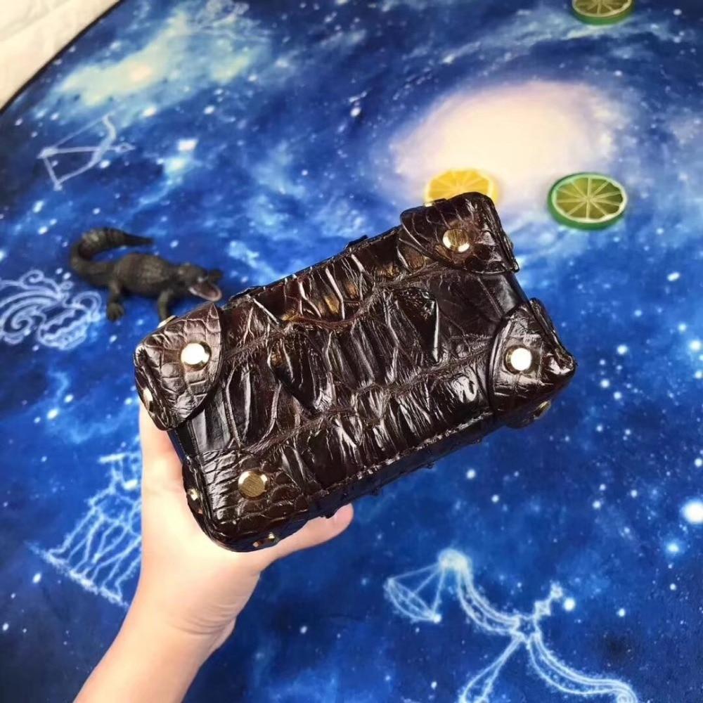 Boîte chocolat Main En Cuir Luxe De Alligator Mini Femelle Femmes Goujons D'épaule Crocodile Véritable À Sac Téléphone Chaîne Designer Noir Lady Embrayages BqgvF