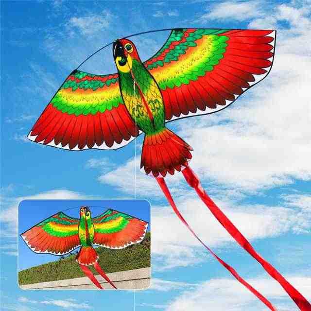 1 Buah Merah Burung Beo Layang-layang Burung Single Line Angin Layang-layang Terbang Outdoor Terbang Menyenangkan Olahraga untuk Anak-anak 110*80 CM