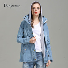 DANJEANER Women Denim Jacket Coat Veste Femme Two-piece Autumn Winter Hooded Bomber Plus Size female Jeans