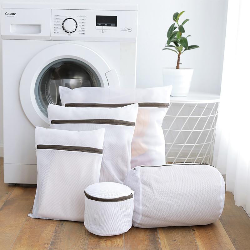 5pcs Polyester Fiber Zippered Foldable  Laundry Bag Bra Socks Underwear Clothes Washing Machine Protection Net Mesh Bags