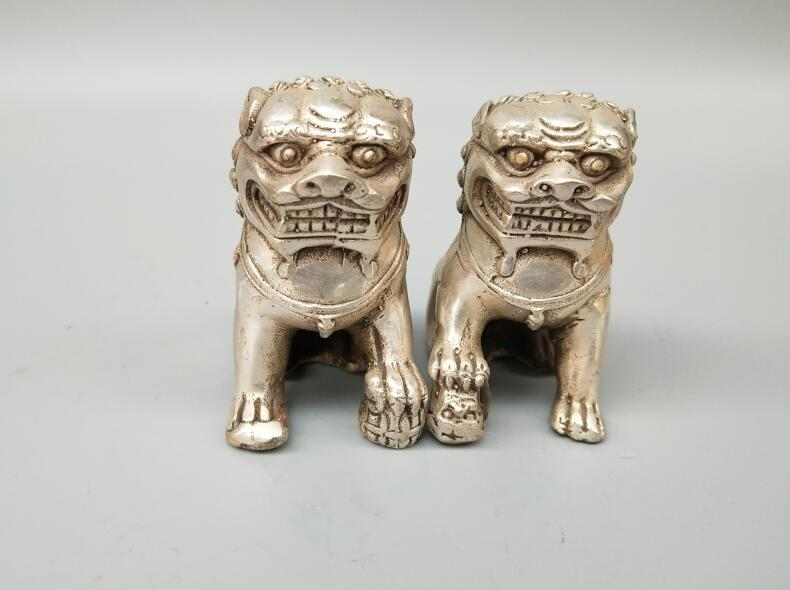 Chinese handicrafts pure white copper lion A pairChinese handicrafts pure white copper lion A pair