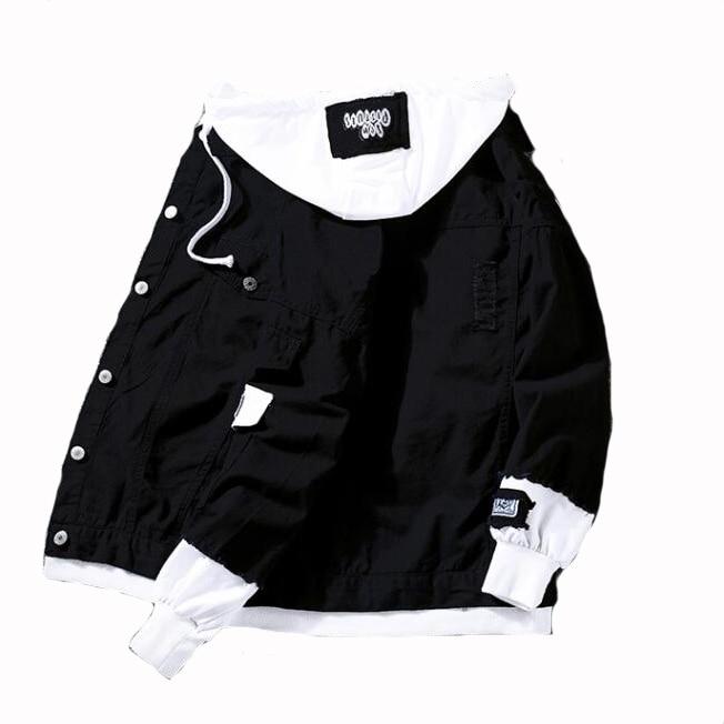 #3407 primavera 2019 vermelho rosa preto jeans jaqueta masculina fino streetwear rasgado denim jaqueta com capuz masculino hip hop bomber jaqueta homme