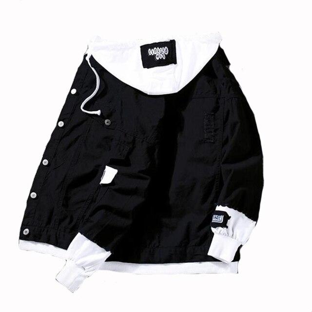 #7412 Spring 2019 Red Pink Black Jeans Jacket Men Slim Streetwear Ripped Denim Jacket Hoodie Men Hip Hop Bomber Jacket Homme