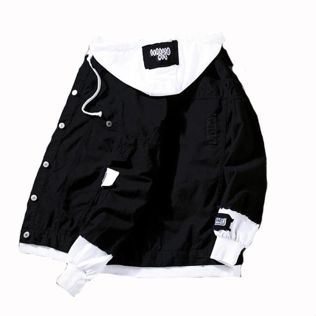 4c2fdd403f21c € 22.06 15% de réduction|#7412 printemps 2019 rouge rose noir Jeans veste  hommes Slim Streetwear déchiré Denim veste à capuche hommes Hip Hop ...