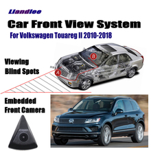 Liandlee For Volkswagen VW Touareg II 2010-2018 12 15 Front View Camera Car Screen Monitor 4.3 Logo Embedded Cigarette Lighter