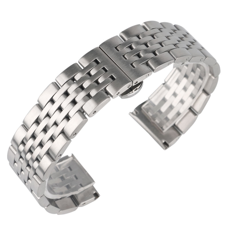 High Quality Silver 20mm 22mm 24mm Watch Band Stainless Steel Men Women Strap Replacement Push Button Hidden Clasp