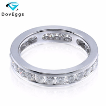 DovEggs 14K 585 Белое золото 1,6 карат ctw 2,5 мм Brillianct Lab выросший Муассанит с имитацией бриллианта свадебный браслет для женщин