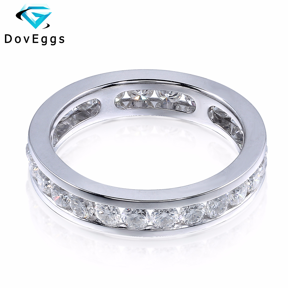 DovEggs 14K 585 White Gold 1.6 Carat Ctw 2.5mm  Brillianct Lab Grown Moissanite Simulated Diamond Wedding Band For Women