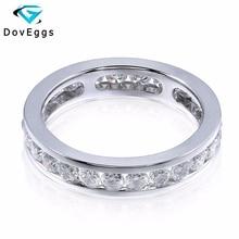 DovEggs 14K 585 White Gold 1.6 Carat ctw 2.5mm  Brillianct Lab Grown Moissanite Simulated Diamond Wedding Band for Women