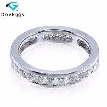 Doveggs 14 585 ホワイトゴールド 1.6 カラットカラット 2.5 ミリメートル brillianct ラボ成長モアッサナイトのための模擬ダイヤモンドの結婚指輪女性