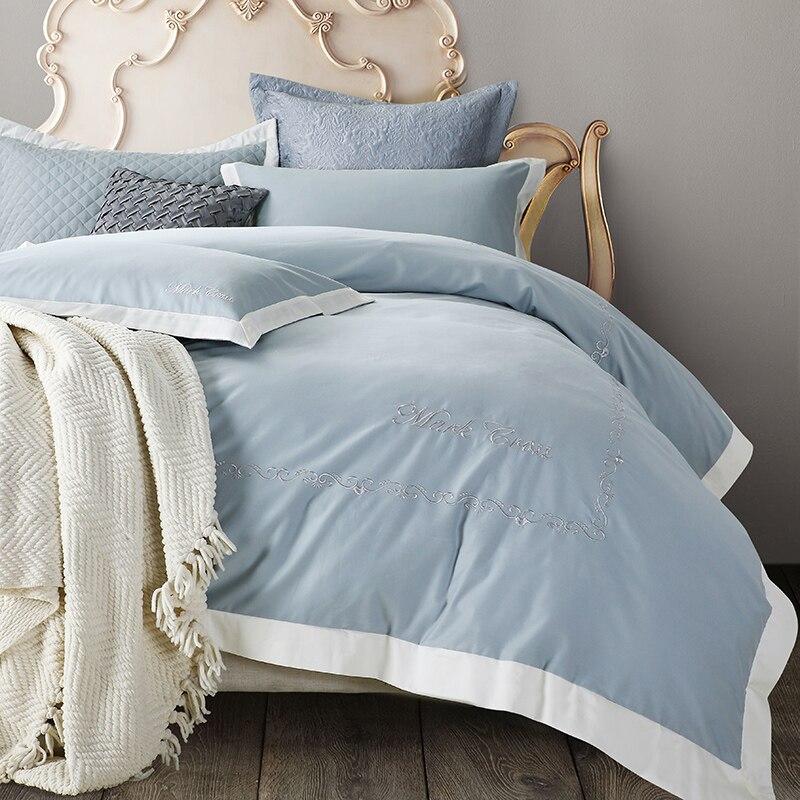 60 s хлопок белый коричневый цвет постельных принадлежностей Oriental вышитые постельный комплект 4 шт. King queen Размер простыни набор Duvet чехол под...