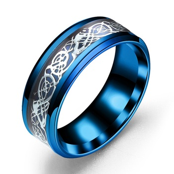 Men Ring Jewelry Red Blue Black Dragon Inlay Comfort Fit Stainless Steel Rings for Men Wedding Ring Wide 8mm 3