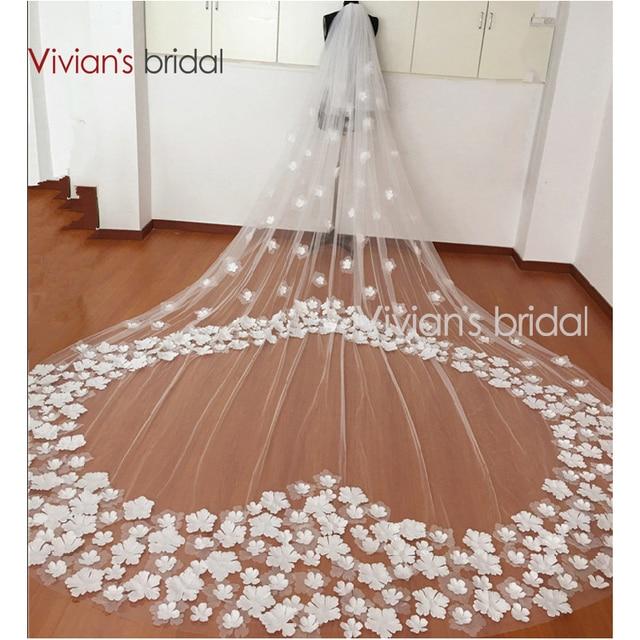 2017 Bride Veils Applique 3 meters veu de noiva long wedding veils bridal accessories lace bridal veil