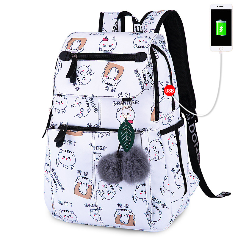 USB Charging Waterproof Women Backpack Cute Printing School Backpacks Schoolbag For Teenagers Student Book Bag Girl Boy Satchel college girl canvas 3pcs backpack letters printing women usb school backpacks schoolbag for teenagers student book shoulder bags