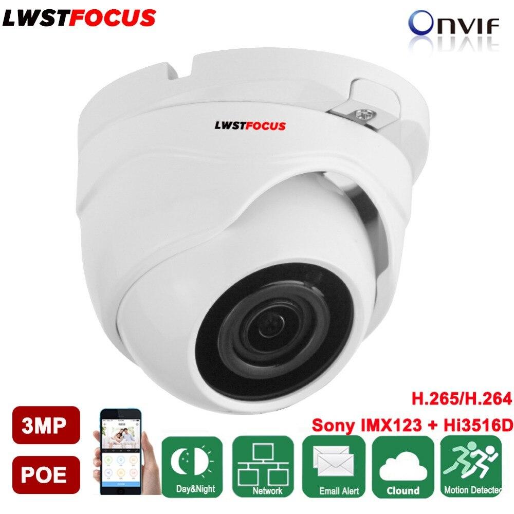LWSTFOCUS 3MP IP Dome Camera IR 20M IP67 SONY IMX123+Hi3516D ONVIF Network Camera IR Security Waterproof IP CCTV Camera System