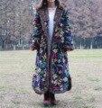 Ретро Хлопок Проложенный Пальто Женщин Длинные Традиционный Китайский Стильные Куртки Свободные Маленький Цветочный Цветок Печати Куртка С Капюшоном