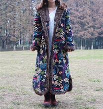 Retro Vintage Cotton Padded Coats Women Long Traditional Chinese Stylish Jackets Loose Small Floral Flower Print