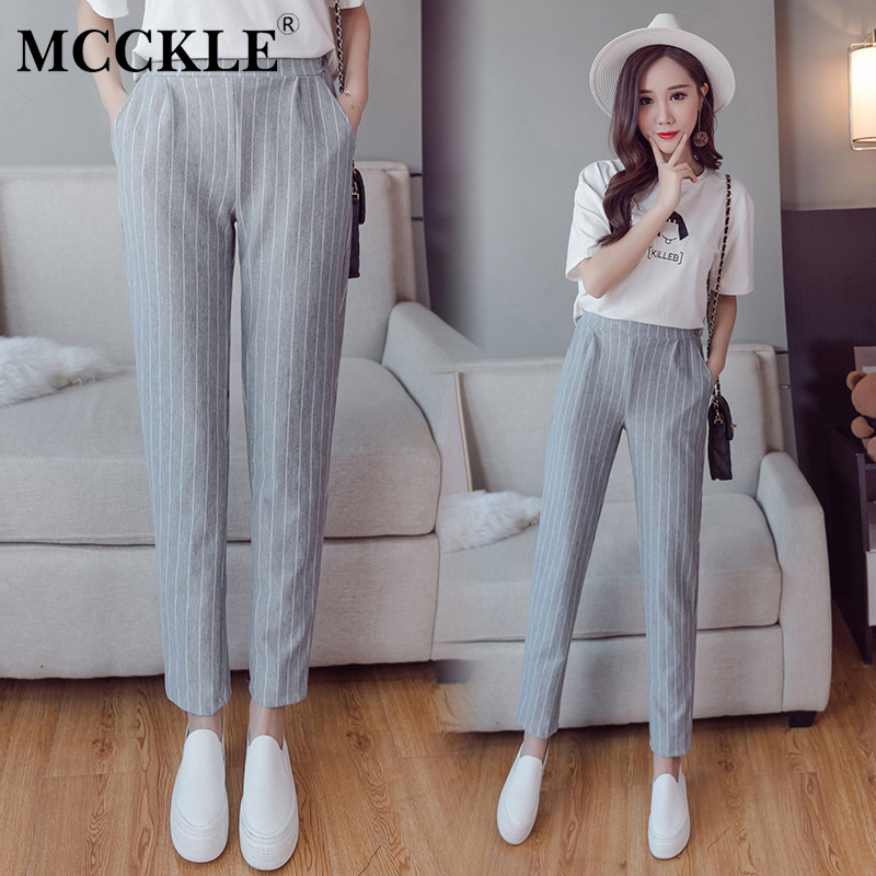 MCCKLE Women Elastic Waist Striped Casual Pencil Pants Summer Spring Office Harem Pants New Woman Workwear Trousers Dropshipping ...