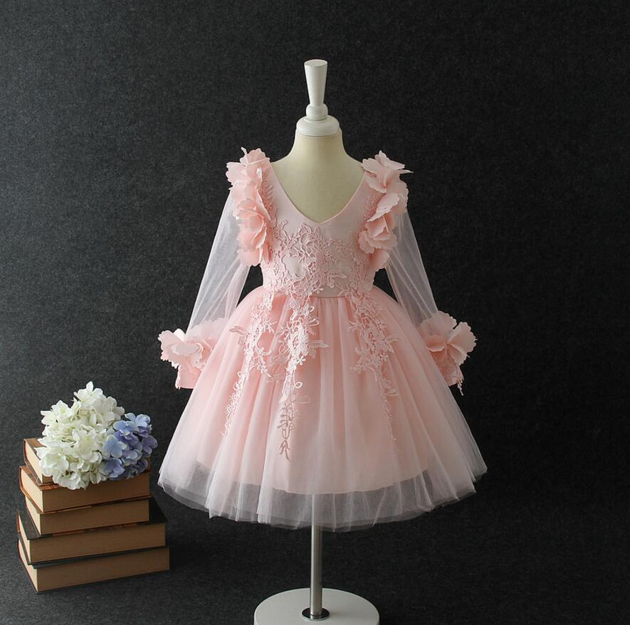 40792da7d 2017 New Baby Girls Floral Long Sleeve Mesh Dresses