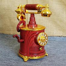Dark Red September New Model Creative Retro Telephone Phone Model Music Box Home Shop Decorations Collection Crafts Gifts