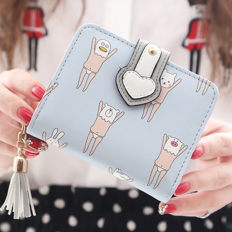 New Fresh Women Wallet Lovely Cartoon Printed Unicorn Wallet Hasp Soft Leather Clutch Purse Short Card Coin Lady Bag Gift women short wallet vintage coin purse clutch clip lovely animal prints soft leather small purse carteras mujer sacoche homme