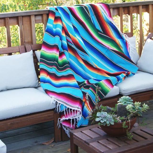 Magic Serape Blanket Stripe Table Cloth Mats Beach Towel Sofa Fabric Mutifunctional Throw High
