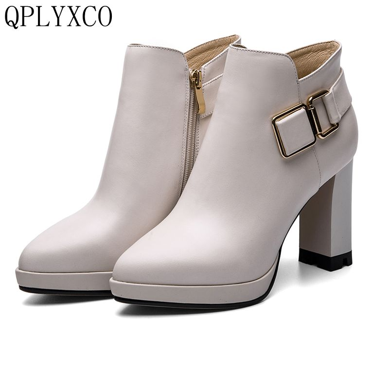 QPLYXCO 2017 Spring Autumn Boots Genuine Leather shoes size 34-39 Women short Boots Pointed toes High Heel High-quality T22-1 women mid calf boots high heel woman short boots shoes spring autumn genuine leather high quality plus size 34 40 41 42
