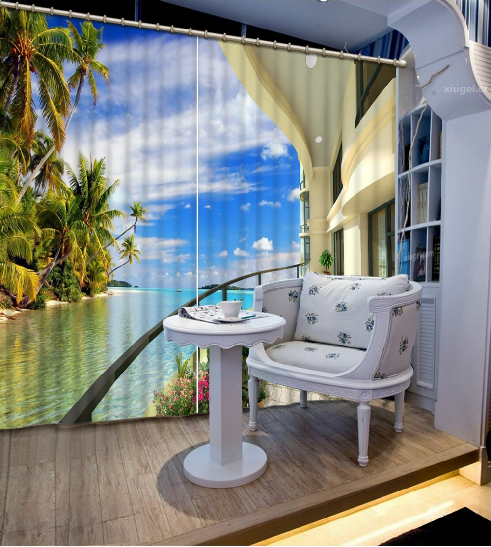 Curtains For Living Room Fashin Balcony Beach 3D Window Curtains For  Bedding Room