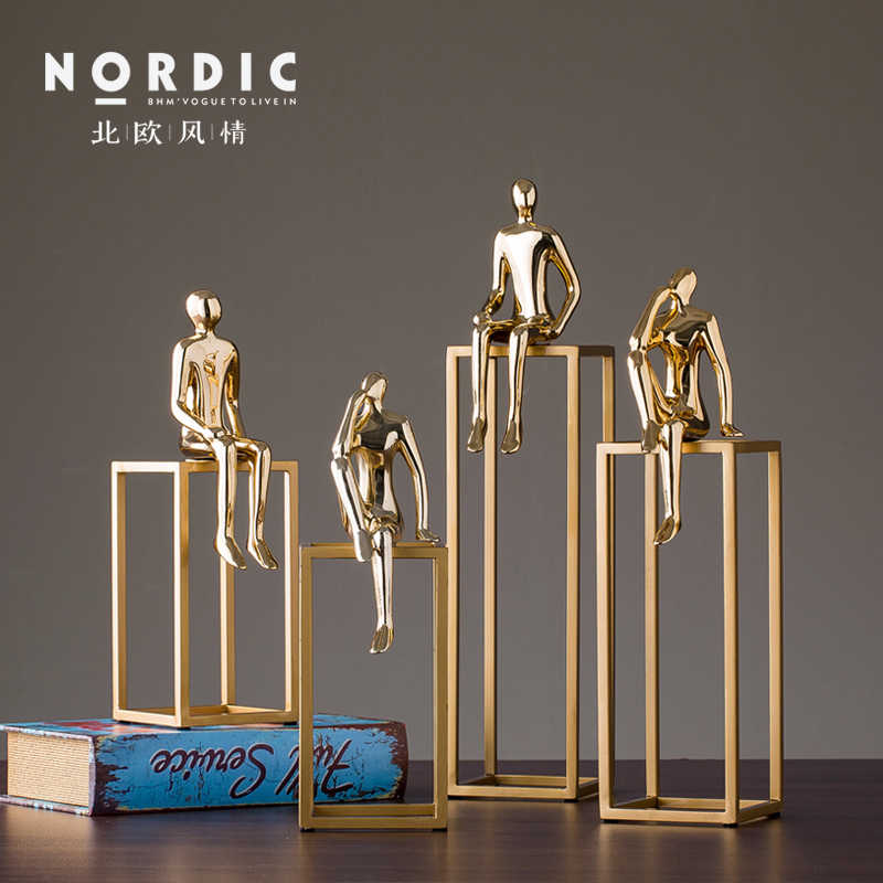 Nordic Creative Metal abstract character statue vintage home decor crafts room decoration objects study office Metal figurines