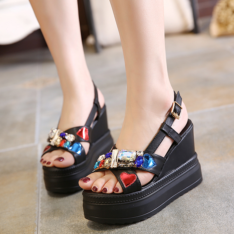Female Summer Shoes Sandals Women Wedge Platform Sandals Casual Gladiator Shoes Sexy Slingback Shoes Peep Toe Rhinestone Sandals phyanic 2017 gladiator sandals gold silver shoes woman summer platform wedges glitters creepers casual women shoes phy3323