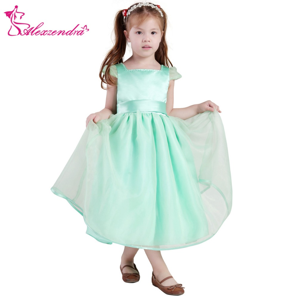 Alexzendra Green A Line Cute Satin Flower Girls Dresses with Sash Girls First Communion Dress Princess Girl Dress