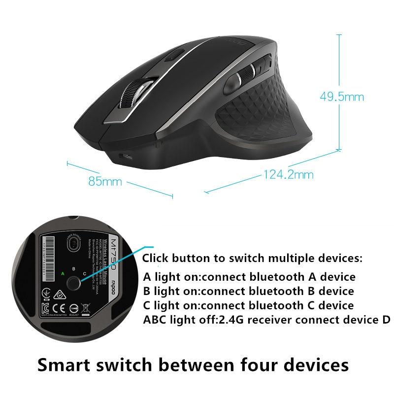 Rapoo Rechargeable Multi-mode souris sans fil Bluetooth 3.0/4.0 Et 2.4G Commutateur Pour Quatre Appareils Connexion Ordinateur de Jeu souris - 5