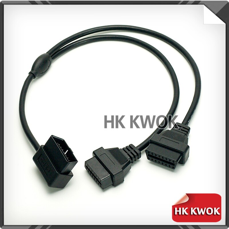 OBD 2 Dual Cable J1962 Male To Dual Female Cable 16 Pin Adapter 90 Angle ELM327 ELM 327 Extension Adaptor Cable Conector P15