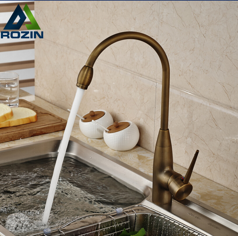 Modern Single Hole Brass Antique Kitchen Sink Faucet Mixer Tap Deck Mount Goose Neck Washing Faucet antique high end kitchen sink faucet single hole brass kitchen sink mixer tap