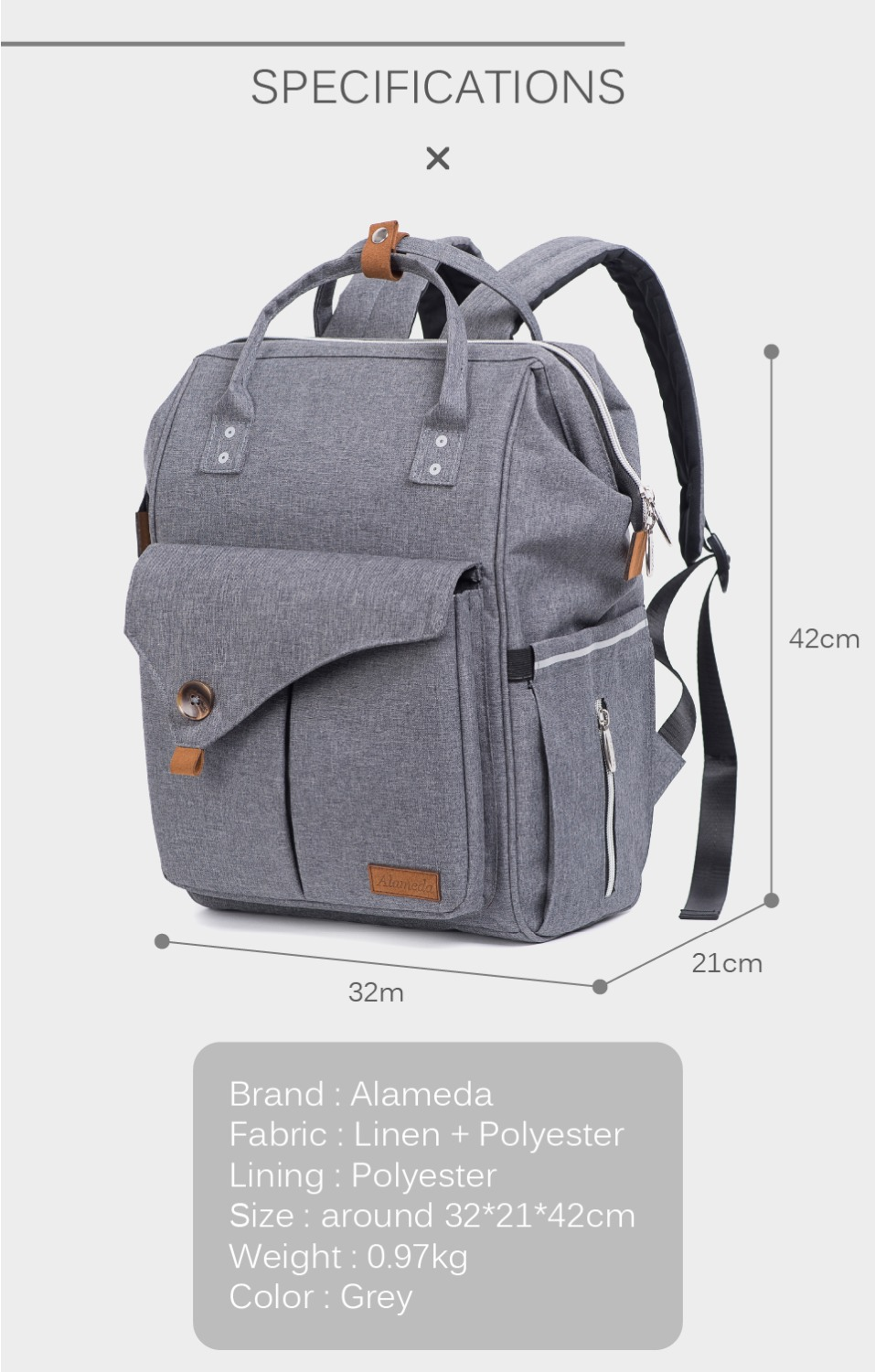 HTB1XHwTlRnTBKNjSZPfq6zf1XXaL Alameda Fashion Mummy Maternity Bag Multi-function Diaper Bag Backpack Nappy Baby Bag with Stroller Straps for Baby Care