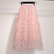 YICIYA Pink Plus size mesh polka Dot skirts midi for women black tutu skirt 2019 summer elegant female vintage loose clothing