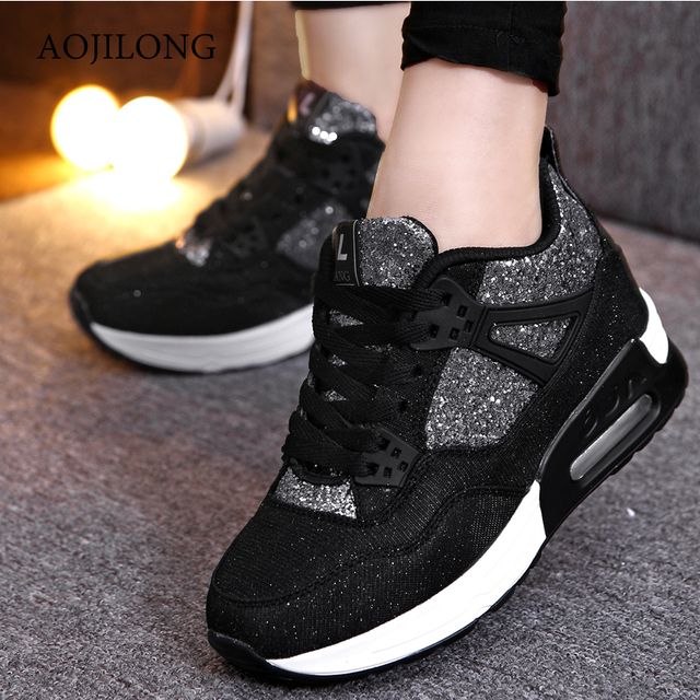 Winter Outdoor Shoes High tops Shake Shoes Woman Casual Platform Wedges High Tops Height Increasing Lace-up Sport Walking Shoes
