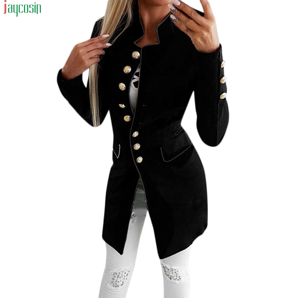 JAYCOSIN Coat Blazer Jacket Button Office Lady Women Long-Sleeve Simple Mujer Lapel