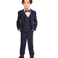 2019 Wedding Boy Costume Blazer Vest Pants 3PCS Formal Marriage Suits for Boys Toddler Piano Party Children Dress Clothes