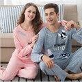 Casais desenhos animados pijama terno de Lazer Confortáveis mulheres/homens camisola Doce menina Primavera Outono de roupas Em Casa