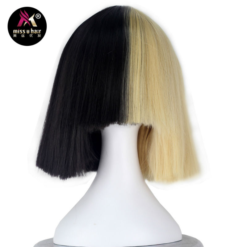 Miss U Hair High Temperature Fiber Half Black Half Blonde White Hair Medium Kinky Straight Cosplay Costume Party Wig For Women Hair Extensions & Wigs Synthetic Wigs