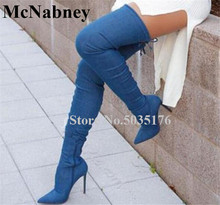 European Women Fashion Sexy Denim Pointed Toe High Stiletto Heels Over Knee Boots Lace-Up Slim Boots Spring/Autumn Women Shoes blue denim water wash over the knee boots stiletto heels pumps cowboy shoes high heels pointed toe autumn winter knight boots
