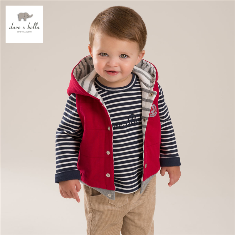 ФОТО DB4004 dave bella autumn baby boys red  navy waistcoat boys padded striped hooded vest with padding