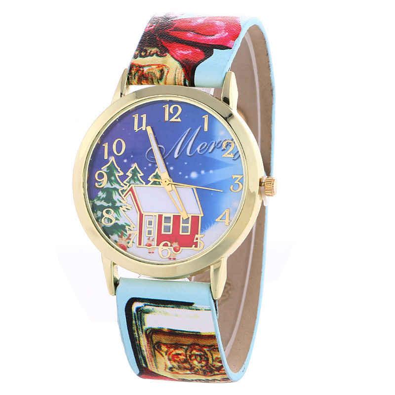 Moda prezent bożonarodzeniowy dzieci boże narodzenie drzewo kobiety kwarcowy zegarek na rękę