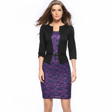 2017 spring women plus size dresses 3XL Faux Twinset Belted Tartan Floral Lace Patchwork Business Pencil Sheath Bodycon Dress709