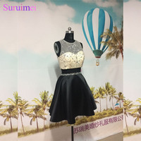 Latest Design Two Pieces Prom Dresses Short Knee Length Nude See Through Beaded Crystals Short Prom Dress Party Gown