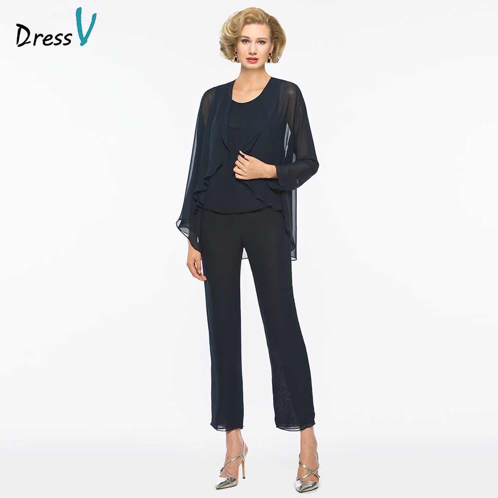 Dressv Scoop Neck Sheath Mother Of Bride Dress With Jackte Pants Long Sleeves Floor Length Long Mother Evening Gown Custom