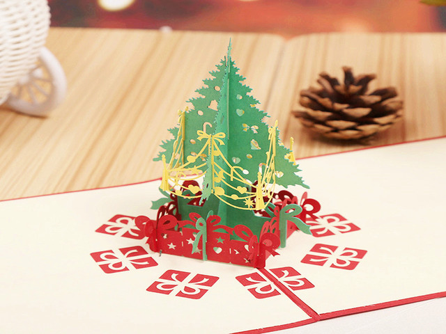 3d Merry Christmas Greeting Gift Card Christmas Tree Centerpiece
