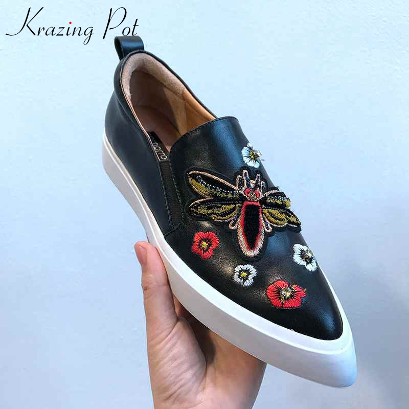 Krazing Pot full grain leather superstar embroidery butterfly oriental pointed toe slip on sneakers women vulcanized